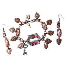 Vintage Heart Charm and Roses Bracelet Earrings Set