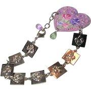 Hand Painted Enamel Floral Rose Heart Cuff Bracelet Fleur Di Lis Chain