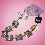 Heart Cuff Charm Bracelet Hand Painted Roses Fleur Di Lis Chain