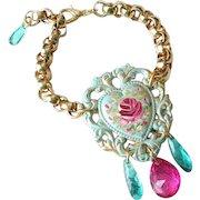 Hand Painted Enamel Floral Rose Heart Charm Cuff Bracelet