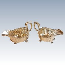 Elegant Georgian Robert Garrard II Sterling Silver Gravy Sauce Boats 1823 Pair Set