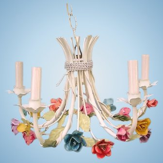 Vintage Italian Tole Chandelier 5 Candelabra Light White Shabby Chic Flowers Roses Leaves Multi Colored