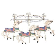 Vintage Metal Horse Carousel Wall Art Hanging Sculpture by Curtis Jere