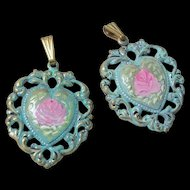 Lot of Hand Painted Floral Rose Charms Pendants
