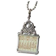 Broken China Pendant Necklace Calendar Plate June 1910