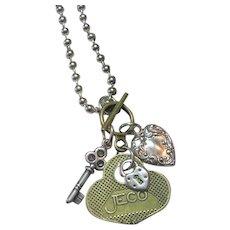 Vintage Hand Cut Key of Hearts Charm Necklace Pendant