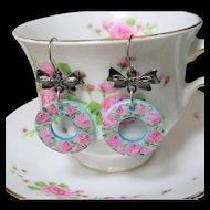Hand Painted Rose Flower Earrings Mother of Pearl Hoops