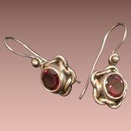 Sterling Silver Garnet Flower Drop Earrings.