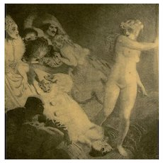 SALE: Vintage Book Plate 'The Curtain' by Norman Lindsay.