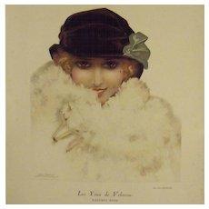SALE: Art Deco Color Magazine Illustration 'Velvety Eyes' by Leo Fontan 1922