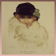 Art Deco Full Color Magazine Illustration Study 'Velvety Eyes' by Leo Fontan 1922
