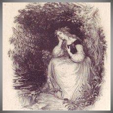 Original mid Victorian English Etching 'Poor Barbara' 1868 Rare
