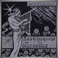 SALE:  French Lithographic Frontispiece  'Les Chansons Eternelle'  1894 by Paul Berthon. Limited Edition.