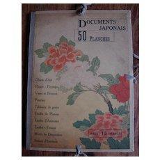 50 Signed Japanese Color Prints in a Compendium Documents Japonais c1900 Paris Exposition. Very Rare