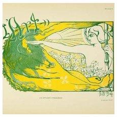 SALE: Signed French Lithograph 'Pour L'Art' Les Affiches Etrangeres series 1896..Rare.