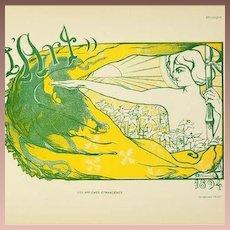 Original Signed French Lithograph 'Pour L'Art' Les Affiches Etrangeres series 1896..Rare.
