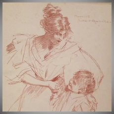 Original Signed Engraving 'Mother and Child' Studio Magazine 1897.