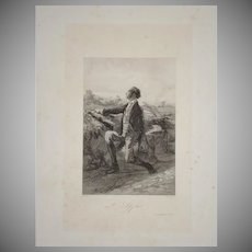 French Engraving 'The Lookout'  by Paul Gavarni c1850