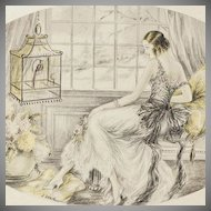 Hand Colored Art Deco Boudoir Lithograph 'Elegants a L'Oiseau' c1920