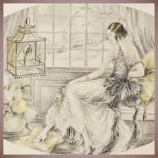 Art Deco Hand Colored Boudoir Lithograph 'Elegants a L'Oiseau' c1920