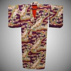 Antique Burgundy Silk Crepe Kimono with all-over Multi Color Landscape Design. c1900 Japanese Meiji era.