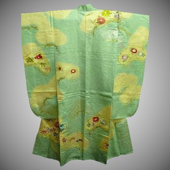 SALE: Aqua Silk Satin Furisode Kimono with Clouds and Embroidery c1980