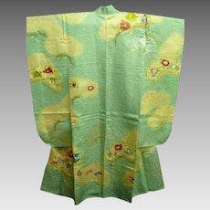 Rich  Aqua Blue Silk Satin Embroidered Furisode Kimono c1980