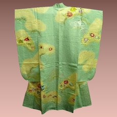 Rich  Aqua Blue Silk Satin Embroidered Furisode Kimono c1980