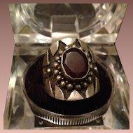 Sterling Silver and Garnet Shield Ring. c1970