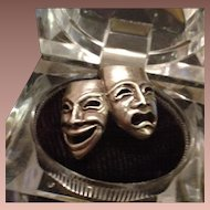 French 825 Silver Comedy Tragedy Theatre Lovers Ring c1970