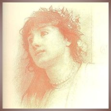 Rare Pre-Raphaelite Lithograph  'Study of a Woman' Signed by Calderon 1883