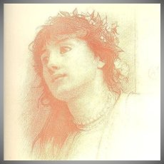 Pre-Raphaelite Lithograph  'Study of a Woman' Signed by Calderon 1883