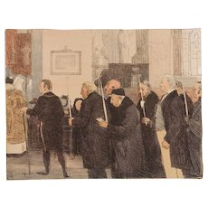 SALE: French Signed Stone Lithograph 'Les Marguilliers' 1897 from L'Estampe Moderne Art Nouveau era Limited Edition