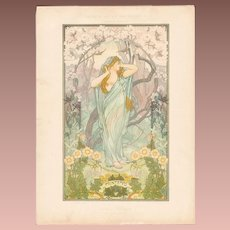 Art Nouveau French Chromo Lithograph 'Printemps' from Album de la Decoration. 1900.