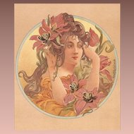Art Nouveau French Chromo Lithograph 'Tulipes' from Album de la Decoration 1900