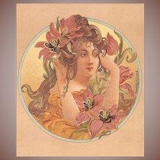 Original French Chromo Lithograph 'Tulipes' from Album de la Decoration 1900. Art Nouveau era.
