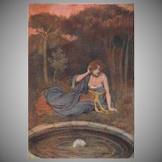 Art Nouveau French Chromo Lithograph 'Le Miroir Champetre' from Album de la Decoration. 1900.