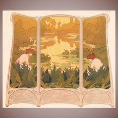 Art Nouveau French Chromo Lithograph 'Paravent Brode' from Album de la Decoration 1900.