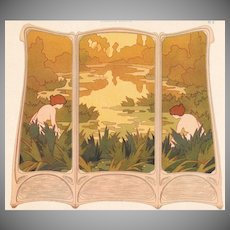 Art Nouveau French Chromo Lithograph 'Paravent Brode' from Album de la Decoration 1900.