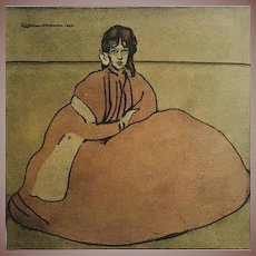 Very Rare Stone Lithograph 'Jeune Fille Assises' from L'Estampe Moderne series 1899.