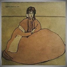 SALE: Rare Stone Lithograph 'Jeune Fille Assises' from L'Estampe Moderne series 1899.