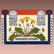 SALE: Original German Art Nouveau Stone Lithograph 'Kvindernes Bygning' from Das Moderne Plakat 1897.