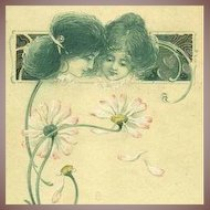 French Art Nouveau 'Language of Love' Gilded Flower Postcard 1907