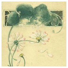 French Art Nouveau 'Language of Love' Gilded Flower Postcard 1907