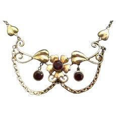 SALE: 2K Gold Filled and Garnet Lavalier Necklace..Hallmarked Walter Lampl.