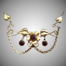 SALE: 2K Gold Filled and Garnet Lavalier Necklace..Hallmarked Walter Lampl.