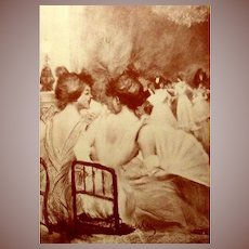 Art Nouveau French Signed Sanguine Lithograph 'In the Evening' by Boutet. c1900