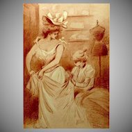 Art Nouveau French Signed Sanguine Lithograph 'At the Dressmaker' by Boutet. c1900