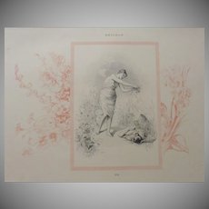 Mid Victorian Four Seasons Signed French Summer Engraving 'Ete'  c1860.