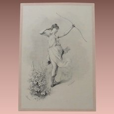 Mid Victorian Four Seasons Signed French Autumn Engraving 'Automne'  c1860.